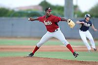 Touki Toussaint #23 of the AZL Diamondbacks pitches against the AZL Padres at the Peoria Sports Complex on July 7, 2014 in Peoria, Arizona. (Larry Goren/Four Seam Images)