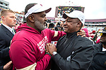 Florida State interim head coach Odell Haggins greets Alabama State head coach Donald Hill-Eley after the Seminoles defeated Alabama State 49-12 in an NCAA college football game in Tallahassee, Fla., Saturday, Nov. 16, 2019.  (AP Photo/Mark Wallheiser)
