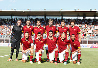 "Calcio, amichevole Roma vs Under 23 Indonesia. Rieti, stadio ""Manlio Scopigno"", 18 luglio 2014. <br /> AS Roma players pose prior to the start of the friendly football match between AS Roma and Under 23 Indonesia at ""Manlio Scopigno"" stadium in Rieti, Italy, 18 July 2014.<br /> Back row, from left, Lukasz Skorupski, of Poland, Leandro Castan, of Brazil, Michele Somma, Mihai Balasa, of Romania, Adem Ljajic, of Serbia, Salih Ucan, of Turkey. Front row, from left, Francesco Totti, Alessandro Florenzi, Mattia Destro, Radja Nainggolan, of Belgium, and Ashley Cole, of Britain. <br /> UPDATE IMAGES PRESS/Isabella Bonotto"