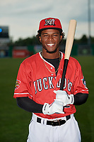 Batavia Muckdogs Ronal Reynoso (2) poses for a photo before a NY-Penn League game against the Lowell Spinners on July 11, 2019 at Dwyer Stadium in Batavia, New York.  Batavia defeated Lowell 5-2.  (Mike Janes/Four Seam Images)