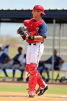 Washington Nationals catcher Cole Leonida #37 during an Instructional League game against the national team from Italy at Carl Barger Training Complex on September 28, 2011 in Viera, Florida.  (Mike Janes/Four Seam Images)