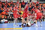 Magdeburgs Magnus Gullerud (Nr.21) gegen v.l. Ludwigshafens Dominik Mappes (Nr.25), Ludwigshafens Christian Klimek (Nr.69) und rechts Ludwigshafens Remmlinger, Jan (Nr.19)  beim Spiel in der Handball Bundesliga, Die Eulen Ludwigshafen - SC Magdeburg.<br /> <br /> Foto © PIX-Sportfotos *** Foto ist honorarpflichtig! *** Auf Anfrage in hoeherer Qualitaet/Aufloesung. Belegexemplar erbeten. Veroeffentlichung ausschliesslich fuer journalistisch-publizistische Zwecke. For editorial use only.