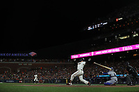 SAN FRANCISCO, CA - OCTOBER 8:  Buster Posey #28 of the San Francisco Giants bats against the Los Angeles Dodgers during Game 1 of the NLDS at Oracle Park on Friday, October 8, 2021 in San Francisco, California. (Photo by Brad Mangin)