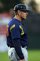 September 7 2008:  Manager Brad Fischer of the State College Spikes, Class-A affiliate of the Pittsburgh Pirates, during a game at Dwyer Stadium in Batavia, NY.  Photo by:  Mike Janes/Four Seam Images