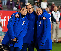 CARSON, CA - FEBRUARY 7: Christen Press #20, Ashlyn Harris #18 and Ali Krieger #11 of the United States pose on the bench during a game between Mexico and USWNT at Dignity Health Sports Park on February 7, 2020 in Carson, California.