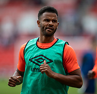 11th September 2021;  Bet365 Stadium, Stoke, Staffordshire, England; EFL Championship football, Stoke City versus Huddersfield Town; Fraizer Campbell of Huddersfield Town during the warm up