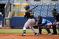 FCL Pirates Black Henry Davis (32) bats in the top of the third inning during a game against the FCL Rays on August 3, 2021 at Charlotte Sports Park in Port Charlotte, Florida.  Davis was making his professional debut after being selected first overall in the MLB Draft out of Louisville by the Pittsburgh Pirates.  Roberto Alvarez (91) catching.  (Mike Janes/Four Seam Images)