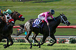 DEL MAR, CA  JULY 21:  #10 War Heroine, ridden by Tyler Baze, in the stretch of the San Clemente Stakes (Grade ll) on July 21, 2018, at Del Mar Thoroughbred Club in Del Mar, CA