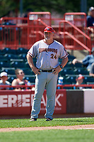 Harrisburg Senators coach Matthew LeCroy (24) during an Eastern League game against the Erie SeaWolves on June 30, 2019 at UPMC Park in Erie, Pennsylvania.  Erie defeated Harrisburg 4-2.  (Mike Janes/Four Seam Images)