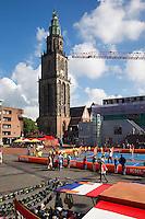 11-sept.-2013,Netherlands, Groningen,  Martini Plaza, Tennis, DavisCup Netherlands-Austria, Draw,   Street tennis on the market squire<br /> Photo: Henk Koster