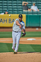 Salt Lake Bees starting pitcher Nick Tropeano (43) throws to first base against the Albuquerque Isotopes at Smith's Ballpark on April 27, 2019 in Salt Lake City, Utah. The Isotopes defeated the Bees 10-7. This was a makeup game from April 26, 2019 that was cancelled due to rain. (Stephen Smith/Four Seam Images)