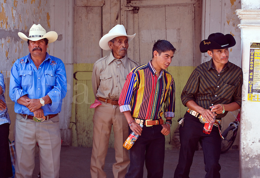 CABALLEROS or Mexican cowboys dress in their best clothes at the festival of the VIRGIN OF GUADALUPE - LOS RODRIGUEZ, GUANAJUATO, MEXICO