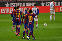 13th February 2021; Camp Nou, Barcelona, Catalonia, Spain; La Liga Football, Barcelona versus Deportivo Alaves; Leo Messi FC Barcelona forward celebrates after scoring in the 75th minute for 4-1