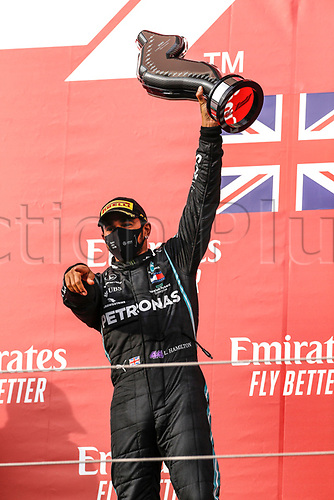 1st November 2020, Imola, Italy; FIA Formula 1 Grand Prix Emilia Romagna, Race Day;  44 Lewis Hamilton GBR, Mercedes-AMG Petronas Formula One Team celebrates his win on the podium