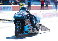Oct 18, 2019; Ennis, TX, USA; NHRA pro stock motorcycle rider Jianna Salinas during qualifying for the Fall Nationals at the Texas Motorplex. Mandatory Credit: Mark J. Rebilas-USA TODAY Sports