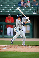 West Michigan Whitecaps right fielder Jacob Robson (7) at bat during a game against the Peoria Chiefs on May 8, 2017 at Dozer Park in Peoria, Illinois.  West Michigan defeated Peoria 7-2.  (Mike Janes/Four Seam Images)