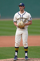Steve Hajjar (27) of the Michigan Wolverines in a game against the Purdue Boilermakers on Friday, March 12, 2021, at Fluor Field at the West End in Greenville, South Carolina. (Tom Priddy/Four Seam Images)