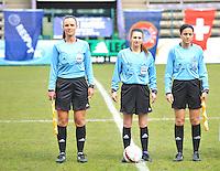 UEFA Women's Under 17 Championship - Second Qualifying round - group 1 : Switzerland - Belgium  : .Referee..Konstantina Mpoumpouri (GRE).Assistant referees..Nektaria Tsagari (GRE), Svetlana Bilic (SRB)..foto DAVID CATRY / Vrouwenteam.be