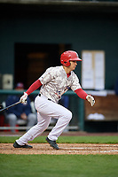 Harrisburg Senators shortstop Stephen Perez (13) follows through on a swing during the second game of a doubleheader against the New Hampshire Fisher Cats on May 13, 2018 at FNB Field in Harrisburg, Pennsylvania.  Harrisburg defeated New Hampshire 2-1.  (Mike Janes/Four Seam Images)