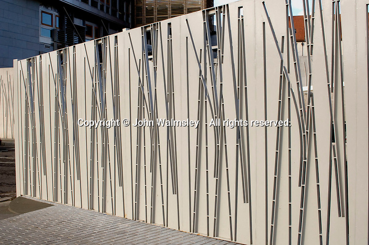 Gates to the new Scottish Parliament building at Holyrood, Edinburgh.  Designed by Spanish architect, Enric Miralles.