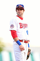 Buffalo Bisons third baseman Matt Hague (49) during a game against the Pawtucket Red Sox on August 23, 2014 at Coca-Cola Field in Buffalo, New  York.  Buffalo defeated Pawtucket 15-2.  (Mike Janes/Four Seam Images)
