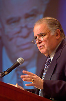 June 26, 2002, Montreal, Quebec, CANADA<br /> <br /> Enrique V. Iglesias, President, Inter-American Bank of Development, speak on Rethinking Relations Between Europe and the Americas<br />  during the 9th Conference of Montreal, June 26, 2002 in Montreal, CANADA<br /> <br /> Mandatory credit : Photo by Pierre Roussel - Images Distribution<br /> (c) : 2002,Pierre Roussel