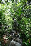 Woman hiking through rainforest and in creek near Titou Gorge