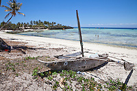 Kizimkazi Dimbani, Zanzibar.  Ngalawa (Outrigger Canoe) Resting on the Beach.