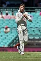 9th January 2021; Sydney Cricket Ground, Sydney, New South Wales, Australia; International Test Cricket, Third Test Day Three, Australia versus India; Marnus Labuschagne of Australia polishes the ball