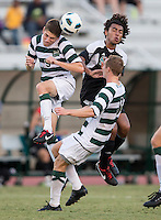 Number 8 ranked Charlotte beats number 16 ranked Coastal Carolina 1-0 on a goal by Thomas Allen in the 101st minute during the second overtime.  Thomas Allen (5), Alan Kirkbride (8), Mikey Lightbourne (17)