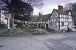 Old Bull Inn, village green, Inkberrow Worcester Uk. The pub which features in the BBC radio program The Archers, know as The Bull.