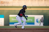 AZL Indians 1 center fielder Ronny Dominguez (24) takes a lead off second base during an Arizona League game against the AZL White Sox at Goodyear Ballpark on June 20, 2018 in Goodyear, Arizona. AZL Indians 1 defeated AZL White Sox 8-7. (Zachary Lucy/Four Seam Images)