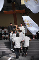 Pope Francis the Cross of the World Youth Day with Polish boys (JMJ).Meeting with young people, during the visit of Pope Francis in Turin,Italy. june 21 2015
