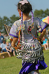 The bells on this young Jingle Dancer's dress jingle and sway during every twist and turn at the 8th Annual Red Wing PowWow in Virginia Beach, VA.