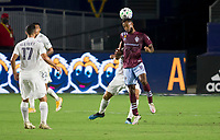 CARSON, CA - SEPTEMBER 19: Kellyn Acosta #10 of the Colorado Rapids leaps high for a ball during a game between Colorado Rapids and Los Angeles Galaxy at Dignity Heath Sports Park on September 19, 2020 in Carson, California.