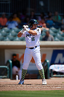 Augusta GreenJackets Diego Rincones (16) at bat during a South Atlantic League game against the Lexington Legends on April 30, 2019 at SRP Park in Augusta, Georgia.  Augusta defeated Lexington 5-1.  (Mike Janes/Four Seam Images)
