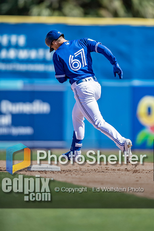 6 March 2019: Toronto Blue Jays top prospect infielder Cavan Biggio rounds the bases after hitting a solo home run during a Spring Training game against the Philadelphia Phillies at Dunedin Stadium in Dunedin, Florida. The Blue Jays defeated the Phillies 9-7 in Grapefruit League play. Mandatory Credit: Ed Wolfstein Photo *** RAW (NEF) Image File Available ***