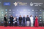 Chen Guoxing, Li Yang, Sun Zhou, Zhang Jianya, Guo Fan, and Wen Jun walk the Red Carpet event at the World Celebrity Pro-Am 2016 Mission Hills China Golf Tournament on 20 October 2016, in Haikou, China. Photo by Marcio Machado / Power Sport Images