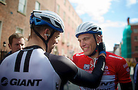 after a majestic sprint where he came back from a lost position to win the stage, Marcel Kittel (DEU/Giant-Shimano) is congratulated by teammate Tom Veelers (NLD/Giant-Shimano) for his 2nd victory (in 2 days)<br /> <br /> Giro d'Italia 2014<br /> stage 3: Armagh (NI) - Dublin (IRL) 187km