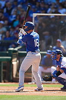 Will Smith (16) of the Los Angeles Dodgers at bat during a Cactus League Spring Training game against the Texas Rangers on March 8, 2020 at Surprise Stadium in Surprise, Arizona. Rangers defeated the Dodgers 9-8. (Tracy Proffitt/Four Seam Images)