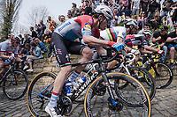 Bob JUNGELS (LUX/Deceuninck-Quick Step) next to Alejandro Valverde (ESP/Movistar) up the infamous Kapelmuur /Muur van Geraardsbergen<br /> <br /> 103rd Ronde van Vlaanderen 2019<br /> One day race from Antwerp to Oudenaarde (BEL/270km)<br /> <br /> ©kramon