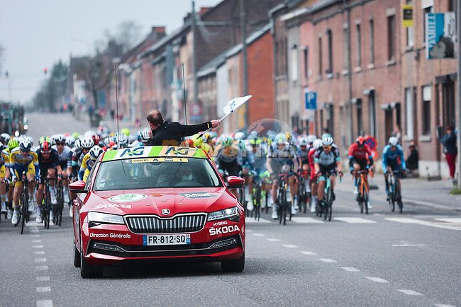 The start of the 2021 Flèche-Wallonne, running 193.6km from Charleroi to Huy, Belgium. 21st April 2021.  <br /> Picture: A.S.O./Aurélien Vialatte   Cyclefile<br /> <br /> All photos usage must carry mandatory copyright credit (© Cyclefile   A.S.O./Aurélien Vialatte)