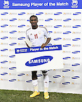 NEWCASTLE-AUSTRALIA-Samsung Player of the Match Ahmed Khalil is presented with his award during the Asian Cup 2015 third place playoff between Iraq and the UAE at Newcastle Stadium in Newcastle on January 30, 2015. Picture by Mark Dadswell/WSG.