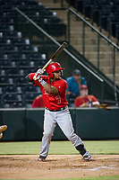 AZL Angels catcher Manuel Herazo (7) at bat against the AZL Athletics on July 22, 2017 at Tempe Diablo Stadium in Tempe, Arizona. AZL Athletics defeated the AZL Angels 5-4. (Zachary Lucy/Four Seam Images)