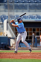 Tampa Bay Rays Julio Meza (68) at bat during a Florida Instructional League game against the Baltimore Orioles on October 1, 2018 at the Charlotte Sports Park in Port Charlotte, Florida.  (Mike Janes/Four Seam Images)