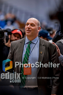 16 March 2019: University of Vermont Director of Athletics Jeff Schulman is all smiles after the victory over the UMBC Retrievers in the America East Championship Game at Patrick Gymnasium in Burlington, Vermont. The Catamounts defeated the Retrievers 66-49, avenging their loss against the same team in last years' Championship Game. Mandatory Credit: Ed Wolfstein Photo *** RAW (NEF) Image File Available ***
