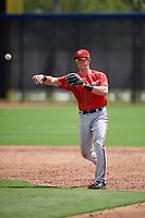 Washington Nationals Tyler Beckwith (7) throws to first base during a minor league Spring Training game against the Houston Astros on March 28, 2017 at the FITTEAM Ballpark of the Palm Beaches in West Palm Beach, Florida.  (Mike Janes/Four Seam Images)