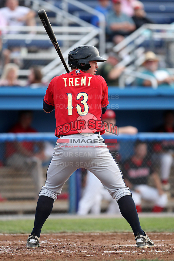 State College Spikes catcher Derek Trent #13 during a game against the Batavia Muckdogs at Dwyer Stadium on July 7, 2011 in Batavia, New York.  Batavia defeated State College 16-3.  (Mike Janes/Four Seam Images)