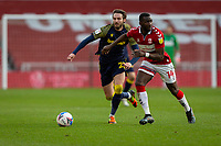 13th March 2021; Riverside Stadium, Middlesbrough, Cleveland, England; English Football League Championship Football, Middlesbrough versus Stoke City; Yannick Bolasie of Middlesbrough in action chased by Alfie Doughty of Stoke City