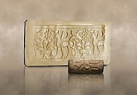 Hittite cylinder seal depicting a scene of animals, seal in foreground and impression standing behind.. Adana Archaeology Museum, Turkey.